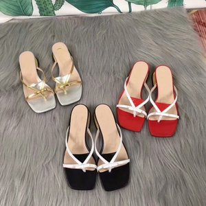Hot G Brand Designer Top Production Summer New Sandals Women Thick Heel Clip Toe Leather Square Head Outdoor Beach Vacation Woman Slippers