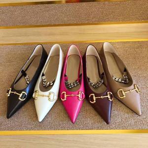 Üst kalite! Yaz klasik bayan sandalet moda metal toka deri düz ayakkabılar kaymaz düğün sığ ağız ayakkabı seksi sivri