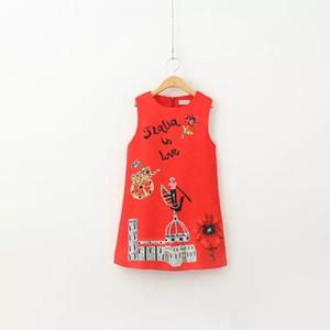 Moda neonate Abiti senza maniche estate del fumetto a vela stampata una linea Stilisti principessa Dress Baby Girl primavera dei vestiti per bambini