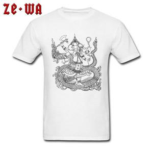 Ganesha T-shirt Inde Dieu T-shirt Imprimé Hommes Tshirt Noir Blanc Tops Elephant Designer Vêtements T-shirt En Coton