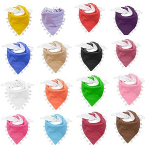 Quaste Pom Pom Lätzchen Baby-Fest Farbe Neugeborenes Mädchen Burp Bandana Cotton Soft-Kleinkind-Dreieck Schal Baby Speichel-Tuch OOA8026