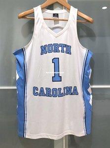 저렴한 도매 nk UNC 노스 캐롤라이나 타르 힐스 # 1 NCAA 남성용 농구 저지 화이트 티셔츠 조끼 스티치 농구 유니폼 Ncaa