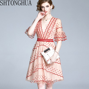 2020 Summer Elegant Mesh Embroidered Corrugated V-neck Elastic Waist 3 4 Flared Sleeves Casual Dress Vestido For Women