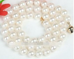 LIVRAISON GRATUITE 7-7.5MM NATURAL WHITE GENUINE AKOYA SALTWATER PEARL NECKLACE