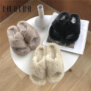 Mulheres Chinelos Moda Sólidos Toe Cor Peep pele Mulher Chinelos rasos Casual sapatas lisas NIUFUNI Inverno Slides sapatos para as mulheres