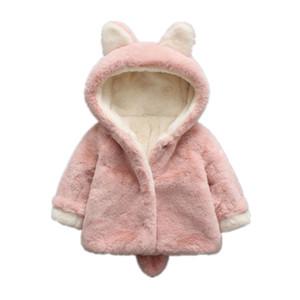 Bebé Casacos Meninas Inverno Quente Brasão Faux Fur Fleece Crianças Jacket orelha de coelho Jacket Casacos com capuz Crianças de vestuário Meninas