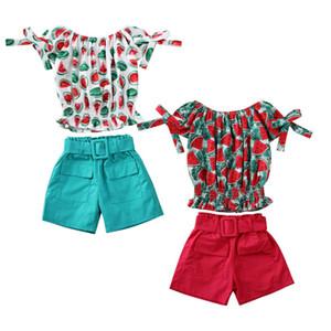 2pcs enfant en bas âge Enfants Bébé Filles Tenues Vêtements Sets 2-7Y Fleurs imprimer Pantalons Tops épaule 2 couleurs