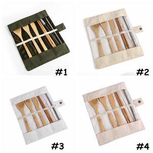 7pcs / set portátil Faqueiro Outdoor Viagem Bamboo talheres Set Faca Chopsticks Fork Colher Louça Define acampamento Cozinha CCA11849 120set