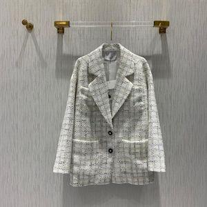 2020 Blazer París Luxury Collection finos de verano solo pecho blanco Mezcla de lana de alta calidad de seda forrado