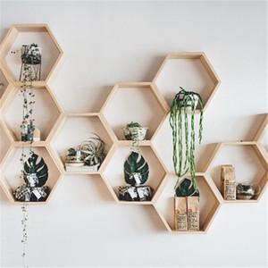Nordic Hexagon Shelf Wooden Hanging Rack Honeycomb Hexagon Rosf for Baby Child Bedroom Dekoration T200319
