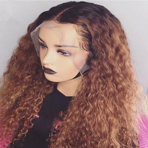 Ombre Mel loira # 1bT27 Curly Humana peruca de cabelo de Remy do brasileiro Preplucked completa Lace Wig Glueless bebê cabelo para as mulheres
