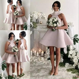 2019 robes de demoiselle d'honneur courtes roses avec grand arc haut cou ouvert dos simple robes de soirée de mariage modernes modernes demoiselle d'honneur