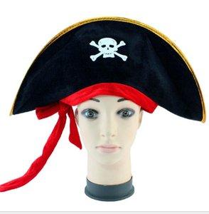 Halloween cosplay Piraten-Schädelhut-Parteikostüme scherzt erwachsene Piratenkapitänhut-Abendkleidfestival-Dekorationsstütze schwarze Piratenkappe