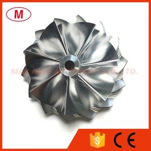 GT15-25 51,03 / 61,98 milímetros 7 + 7 lâminas Turbo tarugo roda Compressor / Alumínio 2618 roda do compressor / turbocompressor de trituração por Chr