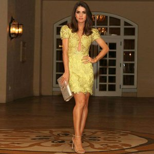 Sexy See Though Yellow Prom Dresses Sheath Jewel Short Sleeve Mini Cocktail Party Dress Full Lace Short Prom Gown