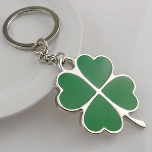 Wholesale Large Green Leaf Lucky Clover Keychain Fashion Creative Men Women Car Key Pendant Ring Jewelry Keyrings