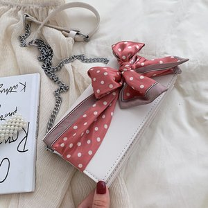 Ribbon bow Small Square bag 2019 New High Quality PU Leather Women's Handbag Chain Shoulder Messenger Bag Bolsos Mujer