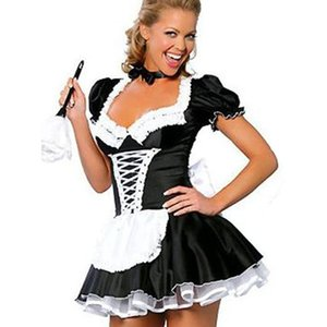 Wholesale Servant Women Cosplay Free Shipping Black And White Party Halloween Fancy Dress Short Sleeve Sexy French Maid Costumes