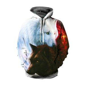 New Double Wolf 3D Digital Print Long Sleeve Hoodie Plus Size Pullover Women Men Winter Sweatshirt