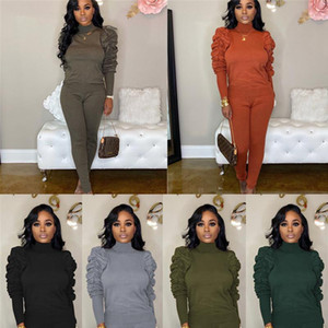 Long Sleeve Moda Designer Famale Dois Pants Pedaço Ladies alta Neck Pilha Sleeve Set Casual cor sólida
