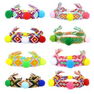 Fashion new styler Fashion popular rice bead knitting bracelet colorful fur ball bracelet simia bracelet