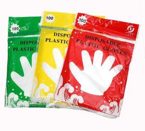 Plástico descartável Luva de Food Grade impermeáveis luvas transparentes casa limpa luvas coloridas 100pcs Embalagem Outras ferramentas de cozinha SN4187
