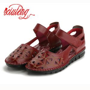 Xiuteng en cuir véritable Sandales femmes trou semelle respirante Sandalias résistant à l'usure Flip Flop été Chaussons creux Chaussures plates