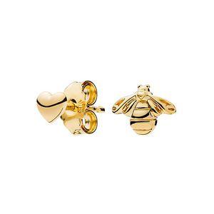 고급 유행 새로운 14K 옐로우 골드 스터드 귀걸이 판도라 925 실버 꿀벌과 심장 귀걸이 여성을위한 선물 상자 세트 소녀