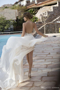 2020 Новый сексуальный Backless лето пляж свадебные платья Холтер бисером Кристалл шифон кружева Side Split Julie Vino Свадебные платья платья 645