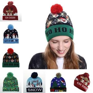 Toptan Kış Ucuz Sıcak Noel süslemeleri Yetişkin Çocuk LED Lamba Noel Örgü Şapka F0021