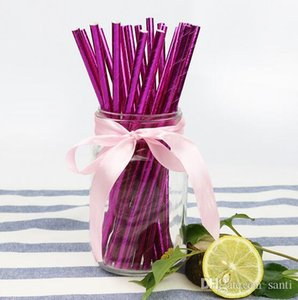 Hot Home Garden 25pcs lot Disposable Pure Color Bronzing Gold Silver Creative Wedding Birthday Event Party Decorating Beverage Paper Straw