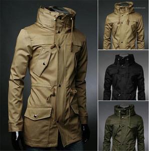 Тонкий Outwear способа Mens Tops сплошного цвета Mens Trench Coat с карманами с длинным рукавом