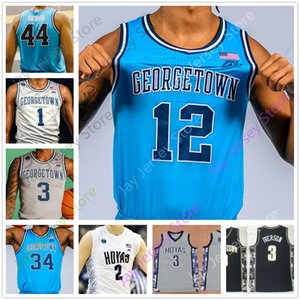 Individuelle Georgetown Basketball Jersey College-Omer Yurtseven James Akinjo Mac McClung Ewing Iverson Mourning Pickett LeBlanc Mosely Porter