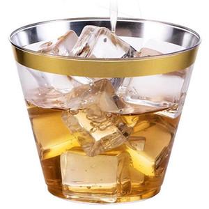 Suministros desechables partido de Copa Airline boda de cocina 9oz con borde de oro desechables de plástico duro Espesar aerolínea Copas PS taza de la bebida DH1094