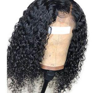 Pelucas delanteras del cordón de la onda de agua del pelo humano Pre desplumados con el bebé sin cola del pelo peruano Peluca llena del cordón del agua onda para las mujeres Negro