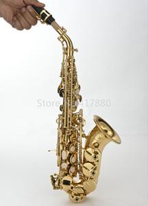 Латунь MARGEWATE Малый Bend шеи Сопрано саксофон B Flat High Quality Gold Lacquer Музыкальные инструменты Sax с мундштуком Бесплатная доставка