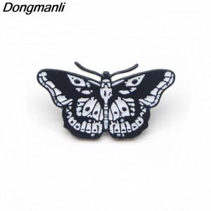 P3188 Dongmanli Harry Style Butterfly Cool Tattoo Esmalte de metal Pasadores y Broches para Mujeres Hombres Pin de solapa mochila insignia regalos