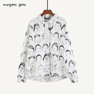 nvyou gou Moda carattere stampato camicetta Donne Graffiti camicette Streetwear gira giù maniche lunghe in cotone sciolto Shirt SH190918