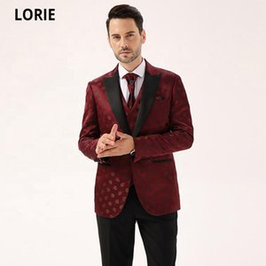 LORIE Stattliche Jacquard rote Farbe Satin Revers 3 PC Männer preiswerte Hochzeit Anzüge Mode türkische Anzüge für Jacke Hosen Männer Weste