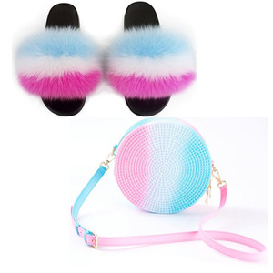 Women's Furry Fur Slippers Travel Fluffy Plush  Fur Slides Rainbow Slippers Set  Jelly Purse Bags Match Sets