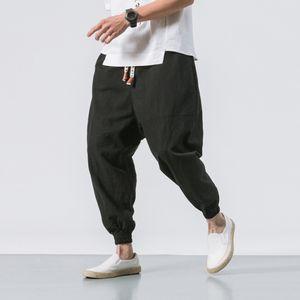 MarchWind New Style Japonais de haute qualité Pieds loose en lin Pantalon grande taille Mode Pantalons Noir Harem hommes taille élastique Pantalons Taille Plus