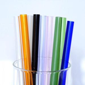 Pailles à boire en borosilicate 9 couleurs 8mm verre résistant au feu de thé au lait verre droit jus de fruits pailles d'alimentation