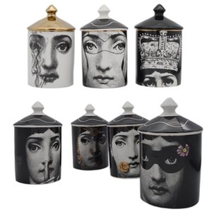 Vintage titular Fornasetti candelabros rostro humano de almacenamiento mano de cerámica Jar Tocador titular de la pluma Decoración del ornamento SH190924