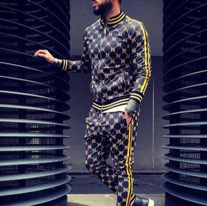 رجال جدد منقوشين سحاب عادي مجموعة ملابس رياضية خريفية مجموعة سترات أزياء جيب سترة رجال ملابس رياضية مجموعات رجال من الرجال