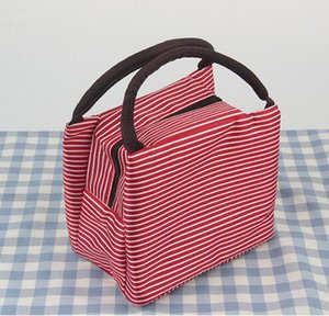 8styles Gestreifte Lunch Bag Protable Thermal Insulated Campus Lebensmittel-Beutel-Beutel-Taschen-Wasserdichtes Picknick-Aufbewahrungsbehälter Container GGA3241
