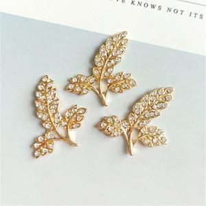 30 UNIDS 2.9 cm * 2.6 cm Moda Metal Aleación Crystal Rhinestone Leaf Connectors Charm DIY Accesorios de Joyería