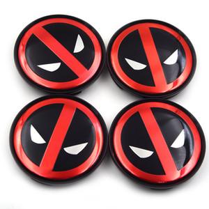 4 unids / set 63 mm Deadpool Wheel Center Caps Emblem Badge Cubiertas del coche Hub Cap pegatina Car Styling