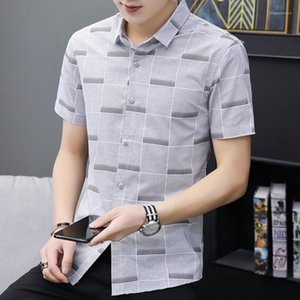 Dress Shirts Short Sleeve Mandarin Collar Mens Plaid Shirts Fashion Casual Mens Clothing Summer Mens Designer