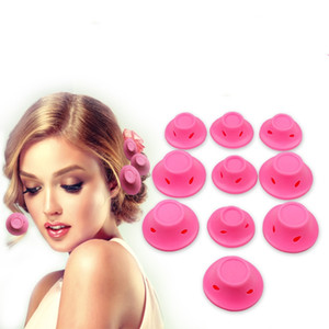 silicone curlers 10Pcs set Hairstyle Soft Hair Care DIY Peco Roll Hair Style Roller Curler Salon Soft Silicone Pink Color Hair Roller