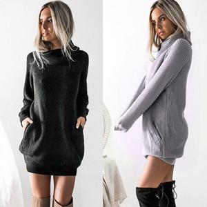 S-5XL Plus Size inverno manicotto lungo vestito dalle donne del Knit maglione dolcevita abito casual Ladies Mini Autunno Abbigliamento Donna 2019